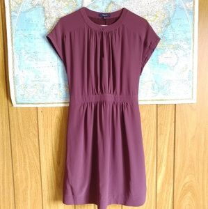 Madewell Purple Mauve Silk Dress Pockets 2